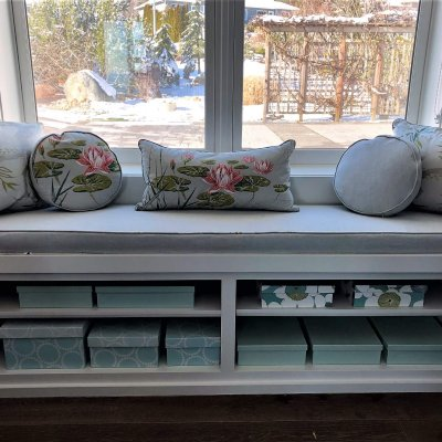 window seat storage home organizing